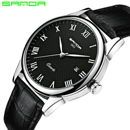 Wholesale Mens Digital Watch Leather Band - 2018 SANDA Fashion Men's Watch Waterproof Mens Watches Top Brand Luxury Clock Relojes Hombre Leather Band Relogio Masculino SD189