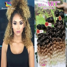 Wholesale Orange Hair Weave - Ombre Two Tone Jerry Curly Hair Extensions 6PCS Synthetic Hair Weave Bundles for Full Head Natural Black Brown Marley Twist