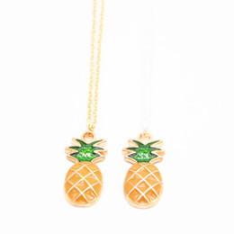 Wholesale Plant Elements - Fruit element pendant necklace Pineapple shape plated necklace Retail and wholesale mix best gift for women