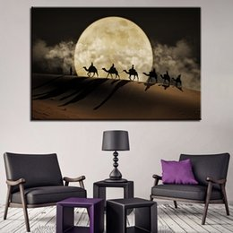 dipinti del deserto Sconti Canvas Poster Wall Art 1 Pezzo / Pc Camel Team Paintings HD Stampe Full Moon In Desert Pictures Home Decor Struttura del soggiorno
