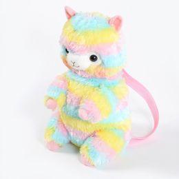 Zaini kawaii online-Zaino per bambini Kawaii bebè Arcobaleno Bambola in alpaca Morbido peluche Sacchetto di immagazzinaggio per bambini Scuola fanghi 36ds hh