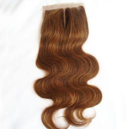 Wholesale hid light parts - 4*4 Raw Indian Virgin Hair Silk Closure Cheap #4 Light Brown Body Wave Human Hair Silk Base Lace Closure Hidden Knots