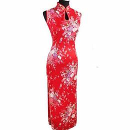 Тенденции моды Красный Китайский Традиционное Платье Женщины Шелковый Район Cheongsam Топ Sexy Long Капель Qipao Цветочные S M L XL XXL J5113 supplier silk red dress for women от Поставщики шелковое красное платье для женщин
