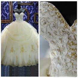 c34799455b0 2018 16 Years Dress Ball Gowns Quinceanera Dresses Lace Appliques Organza  Gold Beaded Sequined Masquerade Debutante Gowns Custom Made