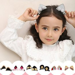 Wholesale rabbit shapes - New Stereo Double Cat Ears Clip With Sequins Ears Girls Hair Clips Cute Rabbit Ears Shape Hairpins in Kids Hair Accessories free shipping