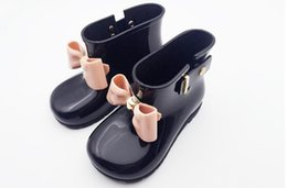 Brand rainboots online-Brand Kids Spring Autumn baby girls Rain Boots Warm Beauty Bow Rainboots Fashion Rubber Shoes Toddler Kids Jelly shoes
