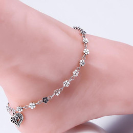 12pcs Vintage Silber Quasten Blume Herz Anhänger Fuß Fußkettchen Armbänder. Frauen Smart Armreifen von Fabrikanten