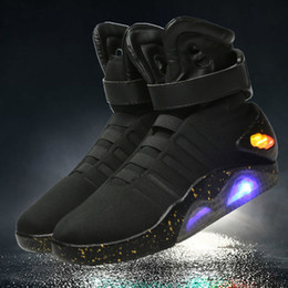 Wholesale led mesh christmas lights - Authorized AIR MAG Sneakers Marty McFly LED Mens Basketball Shoes World Debut Back To The Future Light Up Shoes Send With Box