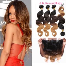 tramas de pelo rubio marrón Rebajas Dark Rooted Brown Blonde Body Wave Peruvian Virgin Hair Bundles 4 piezas con 13x4Inch Frontal de encaje 1B 4 27 Indian Malaysian Ombre Hair Trays
