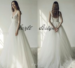 Wholesale Ersa Atelier Wedding Dresses - 2018 Ersa Atelier Boho Wedding Dresses A Line Deep V Neck Lace Applique Beaded Sweep Train Country Wedding Dress Backless Plus Size Bride