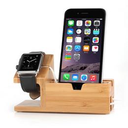 stand bois pour ipad Promotion Support de bureau en bois de bambou pour iPad Mini tablette support de fixation d'accueil chargeur pour iPhone Dock de charge pour Apple Watch