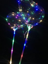 Wholesale Heart Shaped Decorations Weddings - Heart-Shaped LED Bobo Balloon Romantic Wedding Transparent Luminous Colorful Balloon Room Decoration For Valentine's Day Party FVOB
