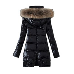 women s long parka UK - women's Raccoon fur collar top quality winter long coat warm long coat women winter downs jacket Down Parka Coat outerwear coats