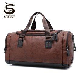 f5adc2bd84b De calidad superior Casual Travel Duffel Bag PU bolsos de cuero de los hombres  grandes de gran capacidad de viaje bolsas negro Mens Messenger Bag Tote ...
