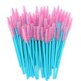 Pinceles de maquillaje rosa manijas online-Varillas desechables del rimel Blue Handle Pink Head Lashes Brushes 500pcs / lot Nylon Brochas del maquillaje Extensión de las pestañas Herramientas