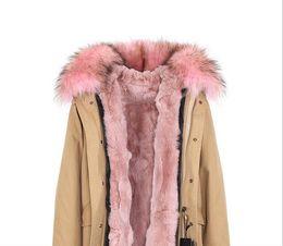 Imagens reais JAZZEVAR marca rosa forro de pele de coelho khaki canvas mini mulheres parkas com guarnição de pele de guaxinim rosa de