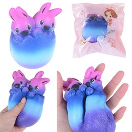 Wholesale Egg Squishy - 14cm Soft Squishy Easter Egg Rabbit Starry Sky Squishy Slow Rising Antistress Toy Squeeze Pinch Decoration