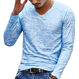 Wholesale New Trendy Clothes - 2018 NEW Trendy Spring Men Basic T Shirt Long Sleeve Slim Casual Men Tops Stretch Pullover Tee Chemise Homme hot Clothing