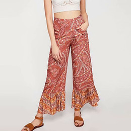 3410450ef3a Boho floral print long pants Flare Ruffle Capris women Chic fashion beach  maxi bohemian holiday trousers summer vacation Full Length pants