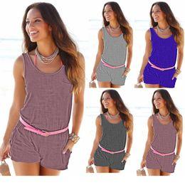Wholesale lady onesies - Jumpsuit Beach Vest Rompers Women Casual Sexy Onesies Lady Summer Slim Bodycon Bodysuit Vacation Shorts Jumpsuit Playsuit Beachwear YYA1047
