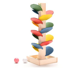 Wholesale intelligence games kids - Wooden Tree Marble Ball Run Track Game Baby Montessori Blocks Kids Children Intelligence Educational Model Building Toy