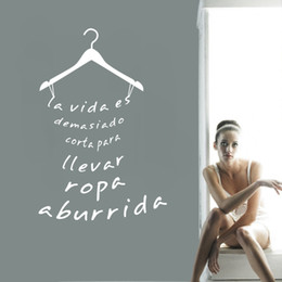 Wholesale Young Living - Spanish Clothing Quote Vinyl Decals Wall Sticker Laday's Young Girl's Fitting Room Cloakroom Fashion Store Wardrobe Decoration