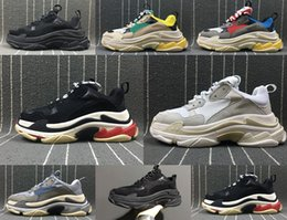 Wholesale thick elastic fabric - New Triple S Shoes Man Woman Sneaker High Quality Mixed Colors Thick Heel Grandpa Dad Trainer Triple-S Casual Shoes With Logo