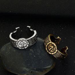 Abanicos abiertos online-Vintage Ancient Silver Viking Anillos Hombres Nordic Viking Rune Totem anillo abierto ajustable Amuleto Rune Ring para Fans Joyería Punk