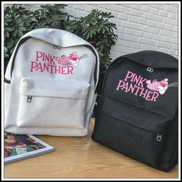 Wholesale Black White Canvas Backpack - 4 Colors Women Backpack Canvas Fashion Pink Panther Shoulder Bag Cartoon Backpacks For Teenage Famous Brand Unisex School Bags CCA9068 5pcs