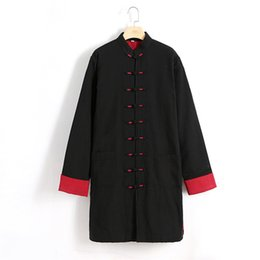Wholesale Chinese Winter Clothes - Black Chinese Men Cotton Linen Lengthen Wadded Coat Plus Size 4XL Kung Fu Clothing Winter Thick Cotton-Padded Long Jacket