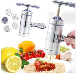Wholesale Manual Noodle Machine - Household Stainless Steel Manual Pasta Machine Hand Pressure Noodle Machine Noodle Maker With 5 Models Kitchen Tools KKA4153