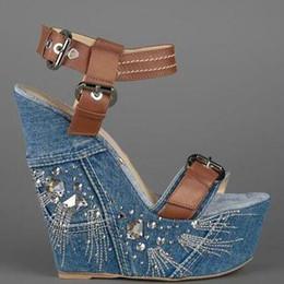tacchi marrone brillante Sconti Hot Summer Glitter Crystal Side Wedges Sandali con tacco alto Sandali di jeans blu Sandali con fibbia in pelle marrone Scarpe da donna