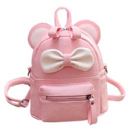 Wholesale Mouse Backpack - Mini Women Backpack Lady Cute Pu Leather School Backpack Fresh Bow Animal Pink Mouse Small Children Teenager Bag for Girls