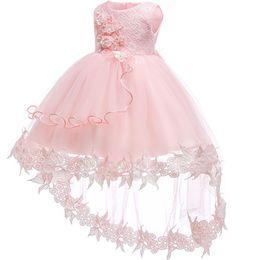 2019 vestido floral de pele falsa Vestido Da Menina de Flor Para O Casamento Do Bebê Menina 0-2 Anos de Aniversário Roupas Infantis Meninas Primeira Comunhão Vestidos de Festa de Crianças batismo