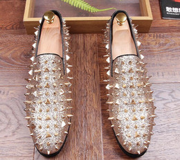 gold spiked male dress shoe Coupons - HOT! Fashion Trendsetter Men s Studded  Rivet Spike Loafers ed415cf4020e