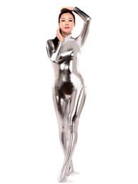 Metallische strumpfhosen online-BetterParty Silber Shiny Metallic Catsuit Heißer Verkauf Sexy Tight Second Skin Suit
