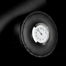 charutos higrômetro Desconto 2018 acessórios de cor preta COHIBA couro genuíno tubo de charuto de viagens Jar Humidor com higrômetro umidificador