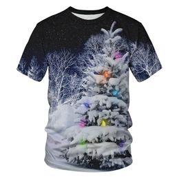 New 2018 3D Snow pressure christmas tree Stampa Color light T-Shirt Uomo Donna manica corta Summer Tops T Shirt da