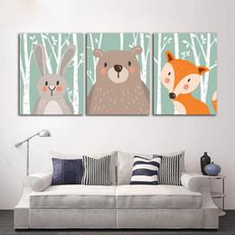 2019 malereien frida kahlo Moderne Nordic Tier Dekoration Malerei Niedlichen Cartoon Leinwand für Kinderzimmer Wandkunst Bild Kein Rahmen