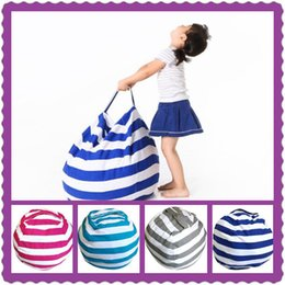 Wholesale Door Tools - 4 Colors Striped Storage Bean Bags Kids Plush Toys Beanbag Chair Bedroom Stuffed Animal Room Mats Portable Clothes Storage Bag CCA8844 60pcs
