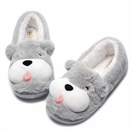 Zapatos rosa para perros online-Perro Lindo Animal Girl Shoes Womens Fuzzy Warm Indoor Mujer Zapatillas de invierno de felpa antideslizante Inicio Zapatillas Femme Pantuflas