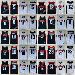 Wholesale red tens - Men 2012 USA Dream Team Ten 5 Kevin Durant 6 James 7 Westbrook 10 Bryant 12 Harden 13 Paul 15 Carmelo Anthony Basketball Jerseys College