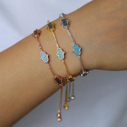 Piccolo fascino per i braccialetti online-braccialetto di braccialetto turco moda fortunato per le donne piccolo carino hamsa mano bella mano fatima fascino catena di scorrimento braccialetto moda