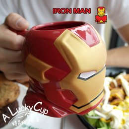Wholesale United Coffee - The United States Marvel creative ceramic coffee mug Iron Man cartoon character around the cup to send her boyfriend