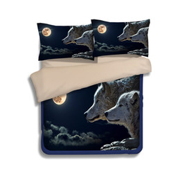 Wholesale Wolf Print Bedding Sets Queen - Free shipping novelty gift animal wolf moon pattern bedding set duvet Quilt Cover with 2 pillowcase Twin full Queen King size