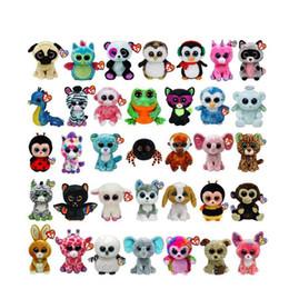 2019 gorros para animais 15 cm Ty Beanie Boos Pelúcia Recheado Brinquedos Grandes Olhos Animais Macios Bonecas para Presentes para Crianças Grandes Olhos ty Brinquedos 35 estilos Novidade Itens AAA1140 gorros para animais barato