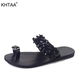 wholesale Summer Women s Rivet Bling Crystal Flat Slippers Ladies Fashion  Beach Solid Slides Women Sandals Fashion Casual Shoes c78cae396f17