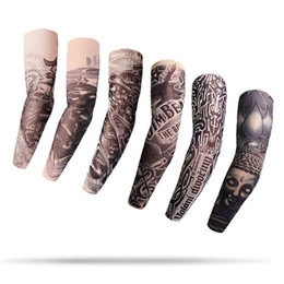 Wholesale Fake Tattoo Arm Sleeve - 205 Styles Big Size Elastic Tattoo Arm Sleeves 3D Print Fake Tattoos Arms Cover 8*48*12cm Temporary Tattoo Mens Body Arm Stockings