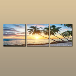 Wholesale Paintings Beach Sunsets - Framed Unframed Large Contemporary Wall Art Print On Canvas Hawaii Palm Tree Beach Sunset Glow Landscape 3 pieces Picture Home Decor abc244