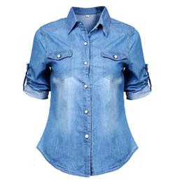 2019 blusa de moda azul 2018 Mulheres Meninas Nova Moda Casual Azul Sólida Jean Denim Macio Camisa de Manga Longa Tops Verão Botão Bolsos Blusa Quente desconto blusa de moda azul